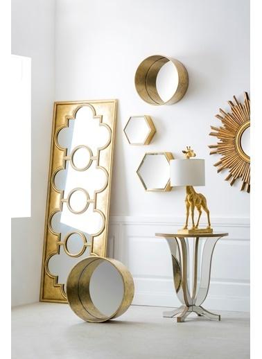 Warm Design 3'lü Set Altıgen Duvar Aynası  Altın
